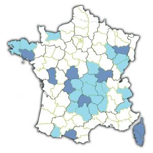 Carte des départements francais a risque radon